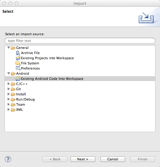 Existing Android Code Into Workspace